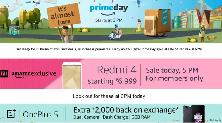 Amazon, Amazon Prime Day Sale, Amazon Prime Day Sale India, Amazon Redmi 4, Amazon Redmi 4 sale, Redmi 4 price, OnePlus 5 cashback, OnePlus 5 exchange offer, OnePlus 5 cash offer, Amazon Prime Deals, Amazon discounts