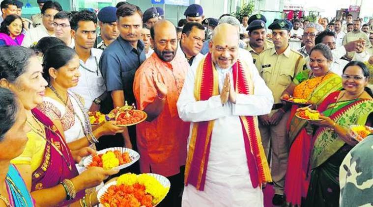 amit shah, amit shah goa, dabolim airport, amit shah reception, india news, bjp amit shah, indian express news