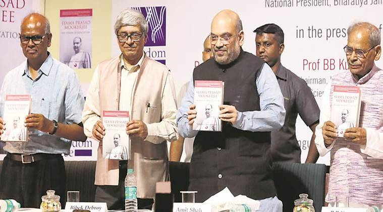 Syama Prasad integrated J&K with India, Amit Shah on Syama Prasad Mookerjee, Syama Prasad Mookerjee: His Vision of Education, Book Launch of Syama Prasad Mookerjee: His Vision of Education, Niti Aayog member Bibek Debroy, Indian Express News