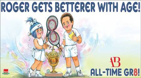 Roger Federer, Roger Federer Wimbledon, federer 8th Wimbledon title, federer records, amul federer Wimbledon cartoon, sports news, tennis news, indian express
