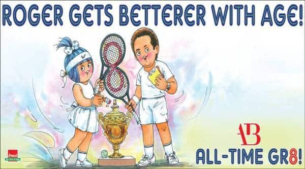 Roger Federer, Roger Federer Wimbledon, federer 8th Wimbledon title, federer records, amul federer Wimbledon cartoon, sports news, tennis news, indian express