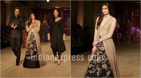 India Couture Week, athiya shetty, India Couture Week athiya shetty, athiya shetty icw 2017, Shyamal and Bhumika, Shyamal and Bhumika icw 2017, Shyamal and Bhumika athiya shetty, Shyamal and Bhumika bridal collection, fashion news, lifestyle news, indian express