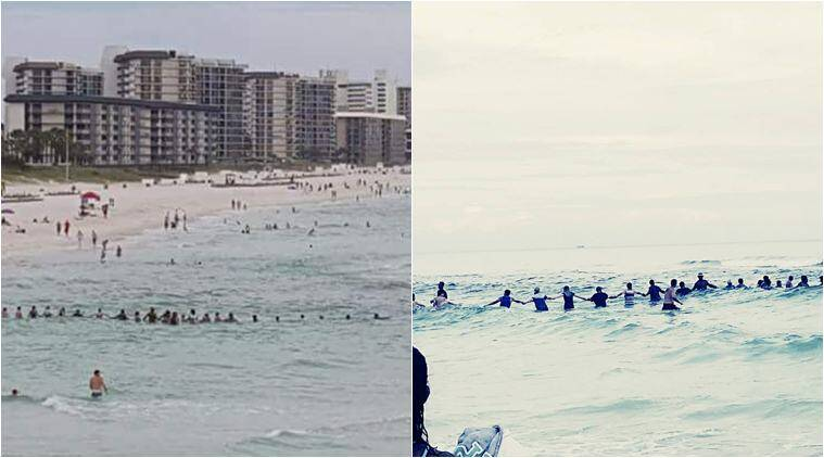 florida, panama beach human chain, Panama City Beach, riptide Panama City Beach, human chain save family from drowning, usa news, good news, viral news, indian express