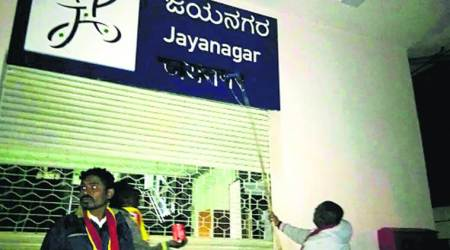 Activists deface Hindi signboards at 40 Metro stations in Bengaluru