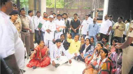 Protest against Indu Sarkar in Pune: Congress workers held for staging dharna withoutpermission