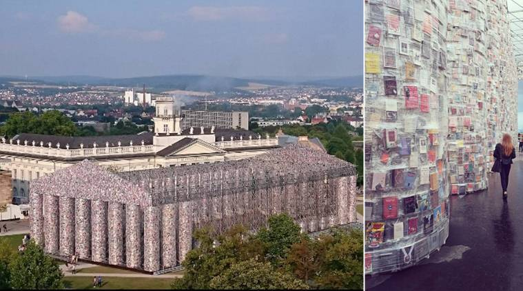 documenta 14, Marta Minujín, Marta Minujín banned books monument, Parthenon of Books, Parthenon of Books kessel, Friedrichsplatz in Kassel, germany, arts news books news, infian express