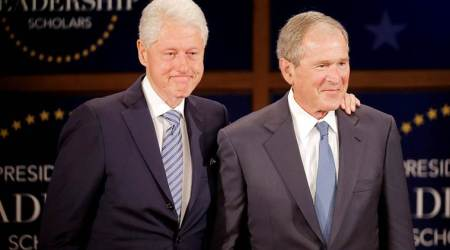 Be humble in victory, responsible with power: Former Presidents George Bush, BillClinton
