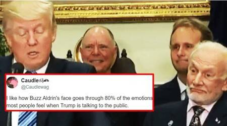 Buzz Aldrin's hilarious expressions on Donald Trump's speech on space have left Twitterati insplits