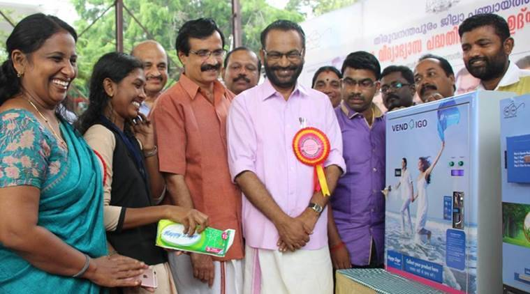 c Raveendranath, kerala education minister, vendigo, sanitary pad dispensing machine, indian express