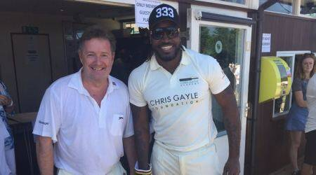 Chris Gayle, Kevin Pietersen, Andrew Flintoff, Piers Morgan