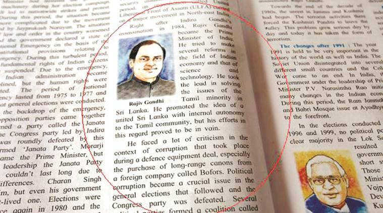 School Textbook Rajiv Gandhi, Rajiv Gandhi Bofors Scam, Bofors scam school textbook, Textbook congress, Indian express, india news, latest news