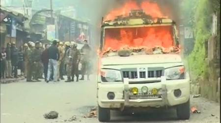 Gorkhaland violence: Protesters torch police vehicle, set govt buildings on fire