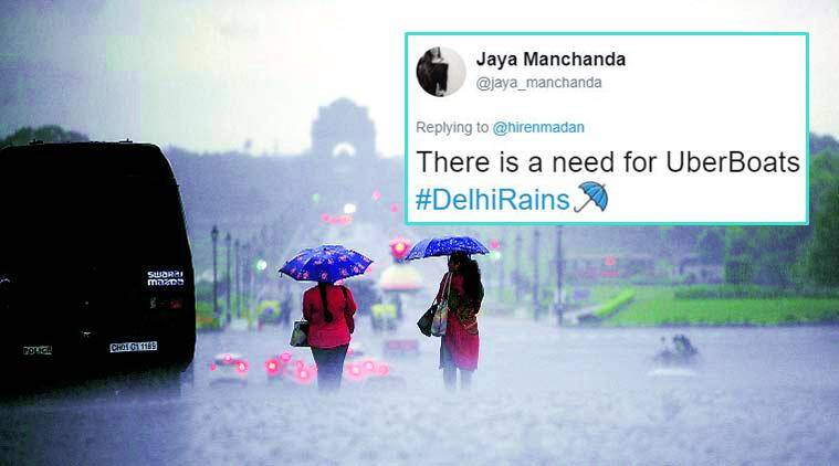 delhi rains, monsoon in delhi, rainy season, delhi ncr rains, thursday rain in delhi, rain tweets, delhi rain twitter reactions, delhi rain on twitter, indian express, indian express news