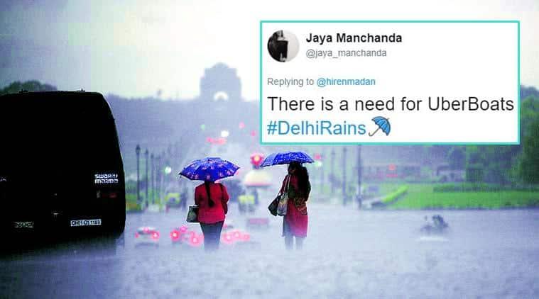 delhi rains, monsoon in delhi, rainy season, delhi ncr rains, thursday rain in delhi, rain tweets, delhi rain twitter reactions, delhi rain on twitter, indian express, indian express news
