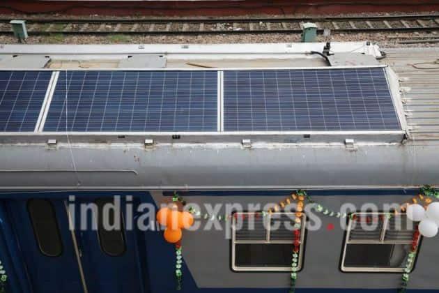 solar trains, solar-powered trains, solar-powered DEMU trains, DEMU trains, indian railways, Suresh prabhu, Northen Railway, Indian railway, Indian Express picture gallery, picture gallery,