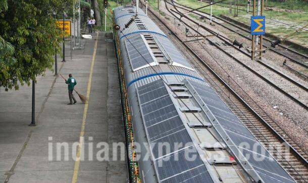 solar trains, solar-powered trains, solar-powered DEMU trains, DEMU trains, indian railways, Suresh prabhu, Northen Railway, Indian railway, Indian Express picture gallery, picture gallery,