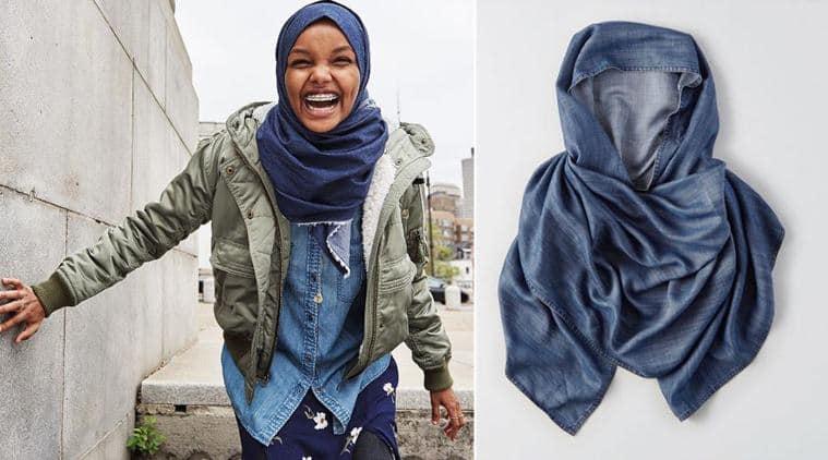hijab, denim hijab, amercian eagle, american eagle denim hijab, hijab nike, hijab dolce and gabbana, halima aden, halima aden denim hijab, fashion news, lifestyle news, indian express