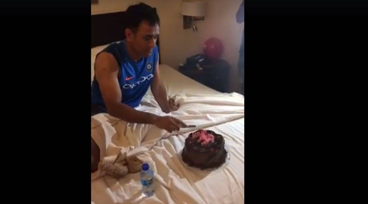 Incredible Ms Dhoni Cuts His Birthday Cake With Team India In West Indies Personalised Birthday Cards Paralily Jamesorg