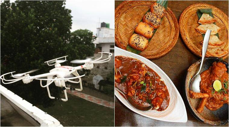 drone, food deliver, drone food delivery,  food drone delivery, online kaka, lucknow drone food delivery, food news, lifestyle news, indian express