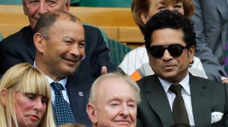 Sachin Tendulkar and wife Anjali attend Roger Federer's Wimbledon 2017 semi-final match, seepics