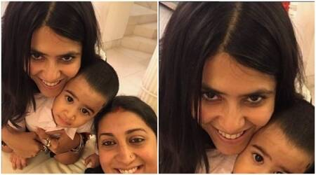 Ekta Kapoor and Smriti Irani are not just buddies but even lovable aunts to Tusshar Kapoor's son Laksshya. See photo