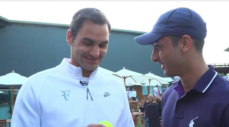 roger federer, federer 10000th ace, federer ace, federer aces video, federer ball boy, wimbledon 2017, tennis news, sports news, indian express