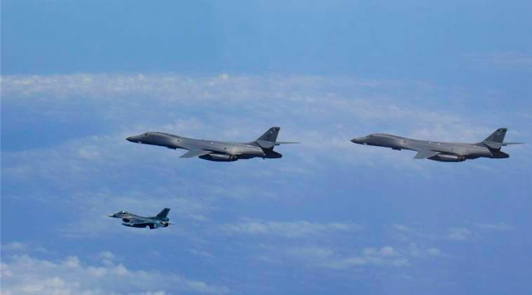 south korea, us bombers, live fire drill, dmz, north korea, joint air force exercise, world news, indian express