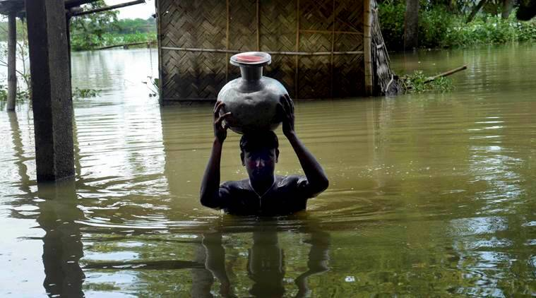 assam, assam flood, assam flood death, assam deaths, brahmaputra water level, assam flood situation, assam rains