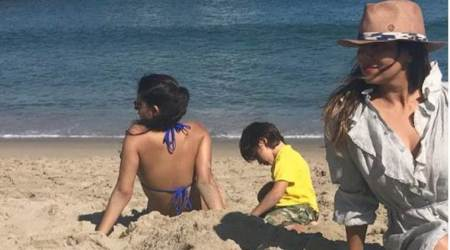As Shah Rukh Khan is busy promoting Jab Harry Met Sejal, Gauri Khan is sunbathing with Suhana and AbRam, see photo