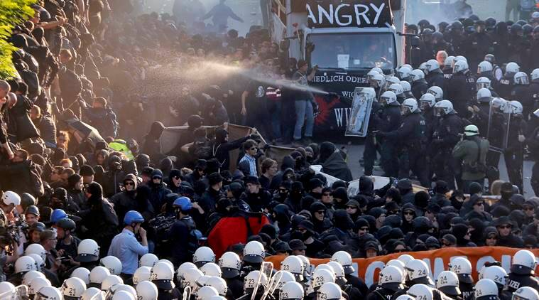 german police fire water cannon at g20 demonstration the indian express. Black Bedroom Furniture Sets. Home Design Ideas