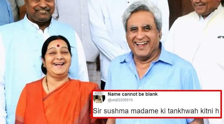 sushma swaraj, sushma swaraj governor swaraj, governor swaraj sushma swaraj salary tweet, governor swaraj twitter sushma swaraj tweet, governor swaraj sushma swaraj twitter salary hilarious reply, indian express, indian express news