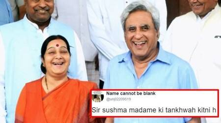 sushma swaraj, sushma swaraj governor swaraj, governor swaraj sushma swaraj salary tweet, governor swaraj twitter sushma swaraj tweet, governor swaraj sushma swaraj twitter salary hilarious reply, indian express, indian express news