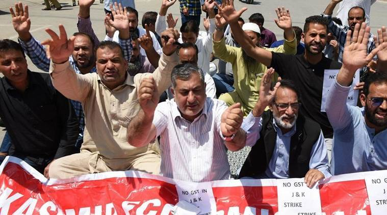 GST, Jammu and Kashmir Traders, J&K Traders, J&K Traders Protest, J&K Traders Protest Against GST, Jammu and Kashmir Traders Protest GST, India News, Indian Express, Indian Express News