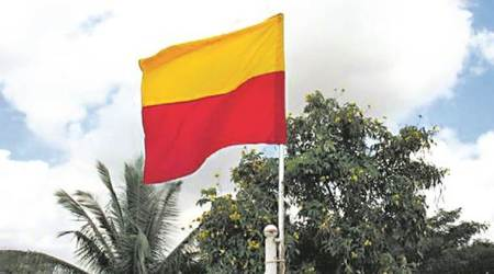 Kannada Flag, Karnataka Flag, Kannada Activists, BJP, India News, Indian Express, Indian Express News