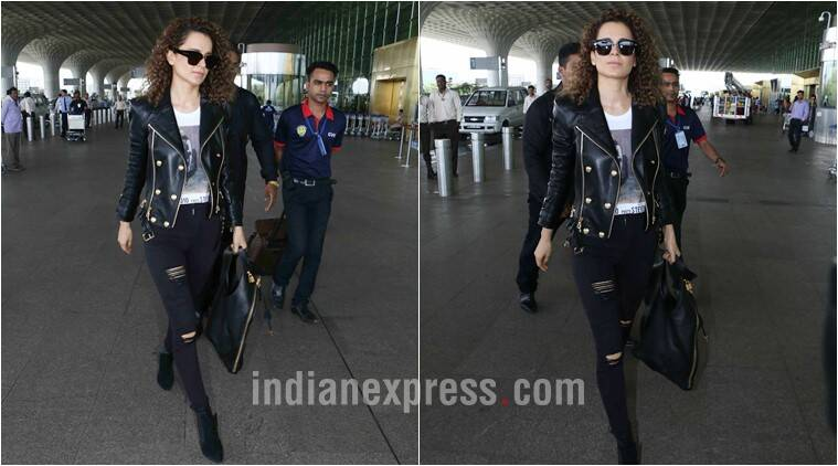 kangana ranaut, kangana ranaut airport looks, kangana ranaut biker jacket, kangana ranaut biker chic look, kangana ranaut latest fashion looks, kangana ranaut latest biker jacket look, indian express, indian express news, trending