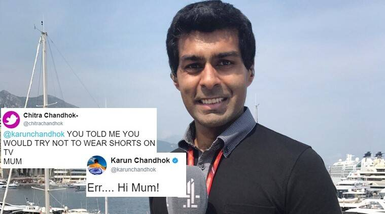 karun chandhok, karun chandhok mom funny tweet, karun chandhok mom dont wear shorts on tv, karun chandhok mother twitter funny, karun chandhok tv, karun chandhok shorts on TV, indian express, indian express news