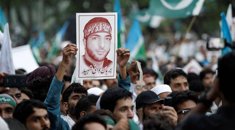 jammu and kashmir, burhan wani, burhan wani death, burhan wani death anniversary, social media, internet services, social media websites ban, internet services ban, india news, indian express news