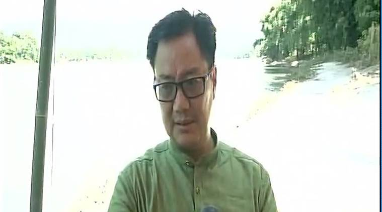 kiren rijiju, arunachal pradesh, floods, north east, landslide, west siang, brahmaputra river overflow, arunachal flood compensation, indian express