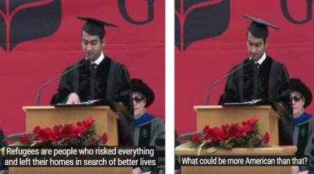 Pakistani-American actor Kumail Nanjiani uses humour in his commencement address to make validpoints