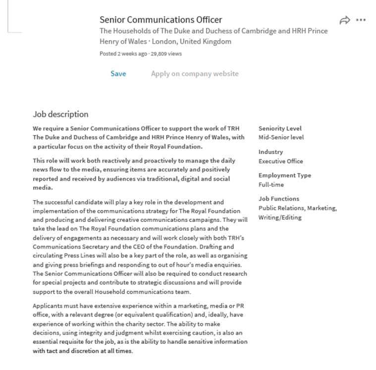 12500 consider royal job advertised on LinkedIn