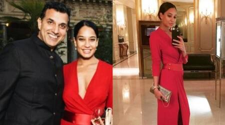 Paris Fashion Week: New mom Lisa Haydon flaunts svelte post-pregnancy figure in a red thigh-high slit gown