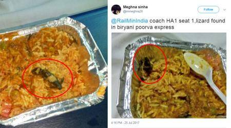 'Disgusting': Tweeple hit out at Railways after dead lizard was found in veg biryani on Poorva Express