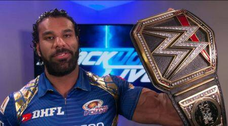 WWE Champion Jinder Mahal receives jersey as a gift from Mumbai Indians, watch video