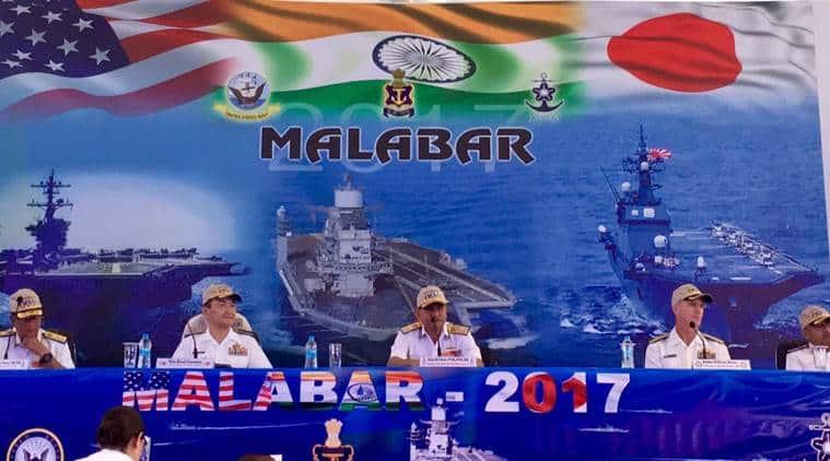 malabar navy exercise, malabar 2017, malabar navy drill, china malabar, india us japan defence, trilateral agreement, ins vikramaditya, indian navy, latest news, indian express news, india news
