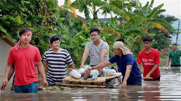anipur, manipur flood, manipur rivers, flood manipur, manipur higher water level, india news, indian express news