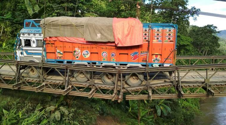 manipur bridge crack, manipur barak bridge, NH-37, overloaded truck, manipur bailey bridge