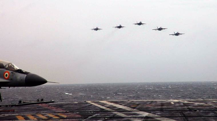 Indian Navy mig-29k and US Navy F-18 during exercise malabar