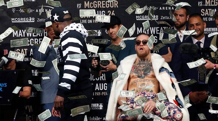 conor mcgregor, floyd mayweather, conor mcgreggor dollar bills, mcgregor mayweather fight, mixed martial arts, most expensive sports event, sports news, indian express