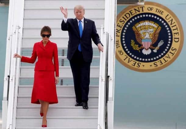 melania trump, donald trump, france, us president, trump france visit, united states, orly airport, paris, air force one, melania dresses, eiffel tower, trump paris tour, indian express