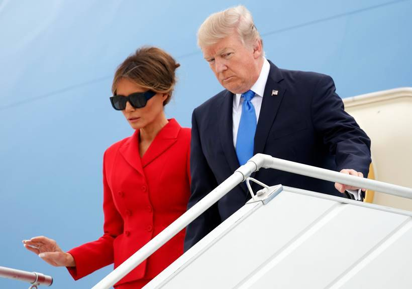 melania trump, donald trump, france, us president, trump france visit, united states, orly airport, paris, air force one, melania dresses, eiffel tower, trump paris tour, indian express